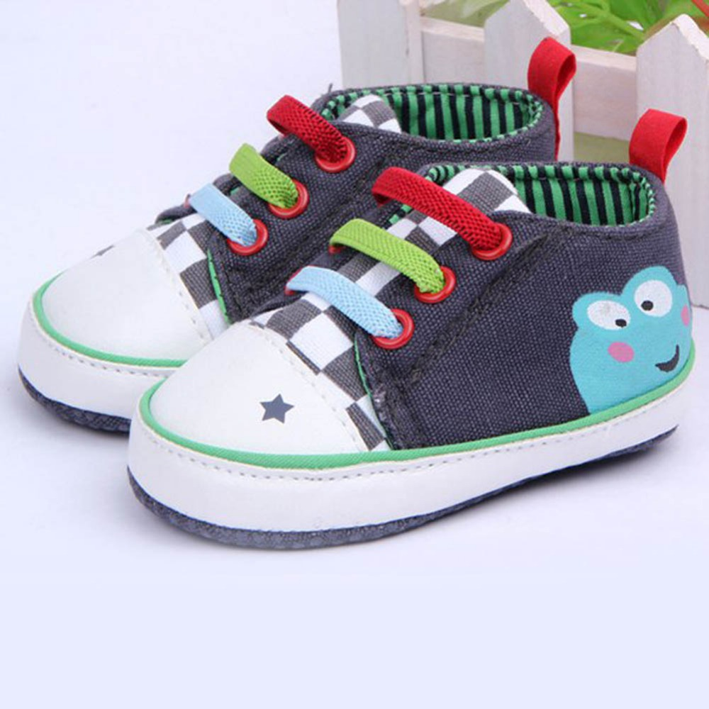 Baby Girls Boy Cartoon Frog Shoes New Born Baby First Walkers Shoes Toddler 3-12 Months