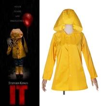 Stephen King's It Georgie Denbrough Raincoat Halloween Carnival Cosplay Costume Yellow Jacket Hooded Suit Adult/Kids Rainwear