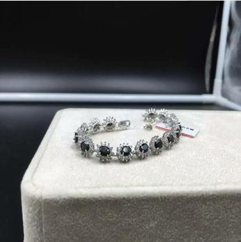 Natural sapphire chain bracelet Free shipping Natural real green sapphire 925 sterling silver Fine jewelry 4*6mm  15pcs
