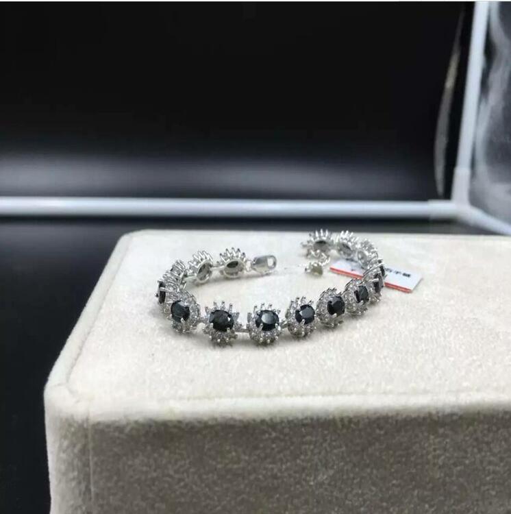 Saphir naturel chaîne bracelet livraison gratuite naturel réel saphir vert 925 argent sterling bijoux fins 4*6mm 15 pièces