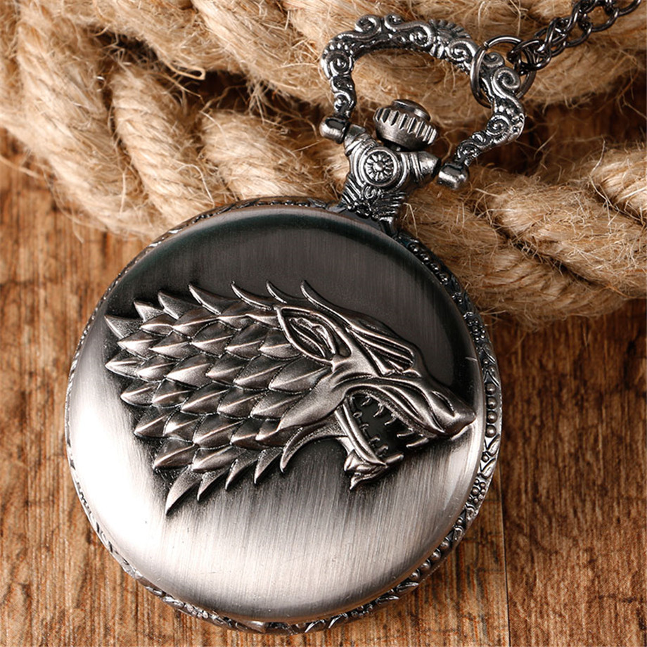 2017 Hot Necklace Watches Gray Tone Honorable Stark House Wolf Quartz Pocket Watch Pendant Game of Thrones Theme Long Chain  (14)