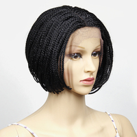 YXCHERISHAIR Synthetic Black Wig Cap Hand Made Crochet Box Braids Hair Small African American Lace Front