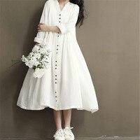 Vintage Cotton Linen Women Dress Loose Plus Size Ethnic Casual Loose Bohemian Robe Maxi Long Beach
