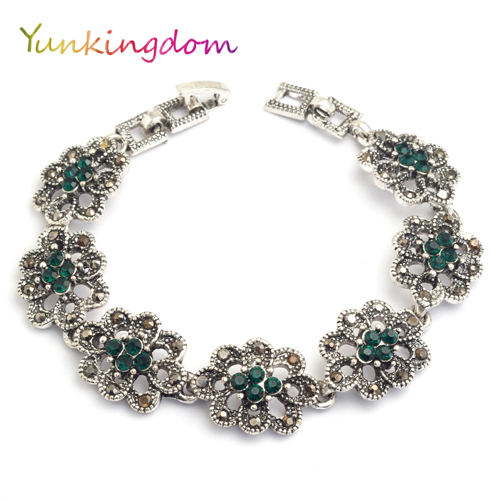 Bohemian ethnic style jewelry silver plated bracelets for women green resin bijouterie