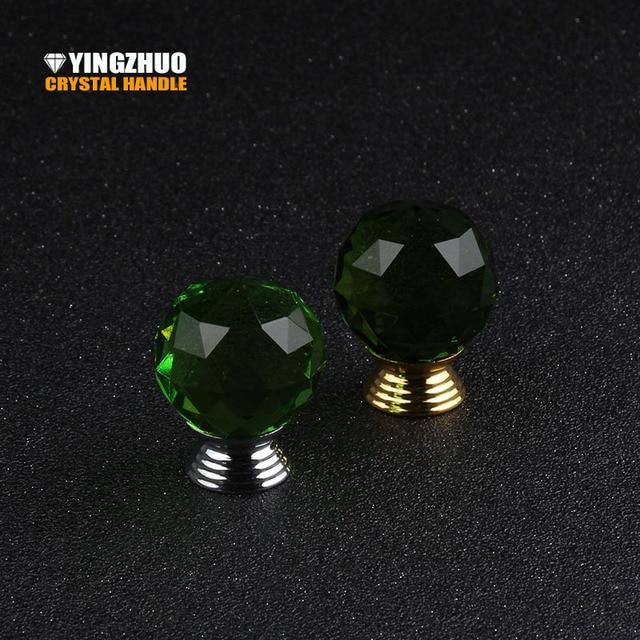 Neue 10 teile/los verkäufe 30mm Grün Kristall Glas Ball Knob ...