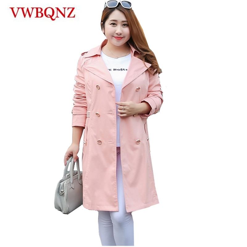 Oversized Female Windbreaker Coat Boutique Clothing 2018 Fashion Casual Slim Long-sleeve Outerwear Medium long   Trench   Coats 6XL