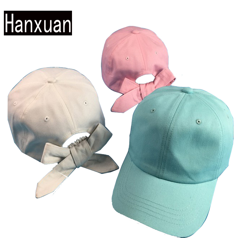 Chocolate Baseball Cap: Hanxuan Fashion Women Cute Bowknot Curved Hat Summer Solid