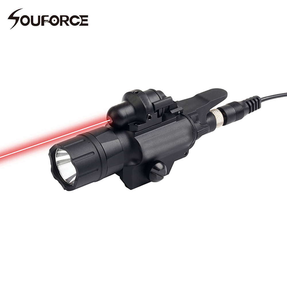 Tactical Flashlight with Green/Red Laser Sight for Hunting Rifle Airsoft Pistol Handgun 20mm Picatinny Rail цена