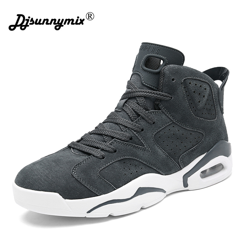 DJSUNNYMIX Men Running Shoes Sports high-top Sneakers 2018 Spring Autumn High Quality Walking pig leather Men Athletic Shoes ...
