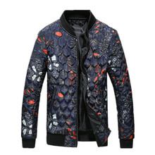 2016 new style winter Men s fashion leisure printing Men s thick cotton quilted jacket man