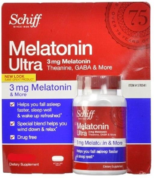 Мелатонин Schiff Ультра. 365 Таблеток. 3 мг Мелатонина + 25 мг L-Theanine + 25 мг ГАМК + Ромашка и Экстракты Валерианы