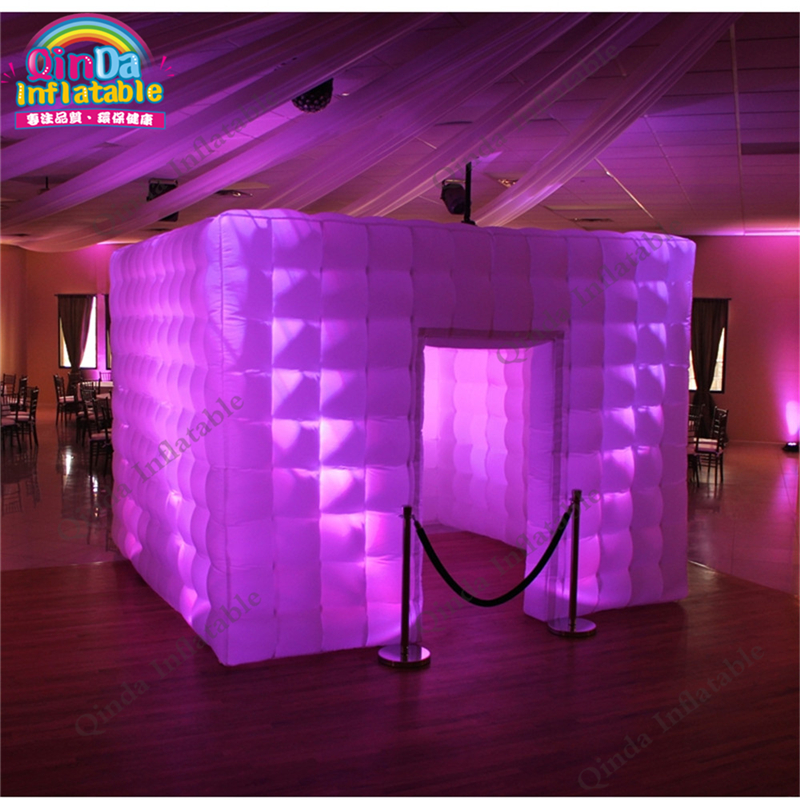 Customized size photo booth camping inflatable cube tent ,LED light tent with air blower  free shipping 3x3x2 4m inflatable photo booth cube inflatable photo booth led inflatable photo booth for sale
