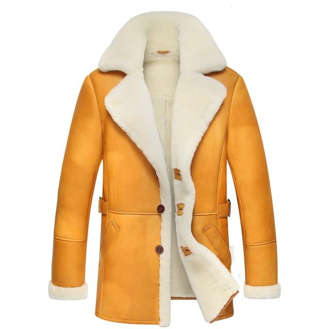 776cc44dd81 Leather Jacket Men Shearling Coats Fashion Slim Genuine Leather Outerwear  Luxury Sheepskin Leather Long Coat TJ14