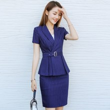 Female Summer Two Pieces Set Interview Suits Black Blue Striped Plus Size Skirt/Pant Suits For Women Office Short Sleeve Blazer