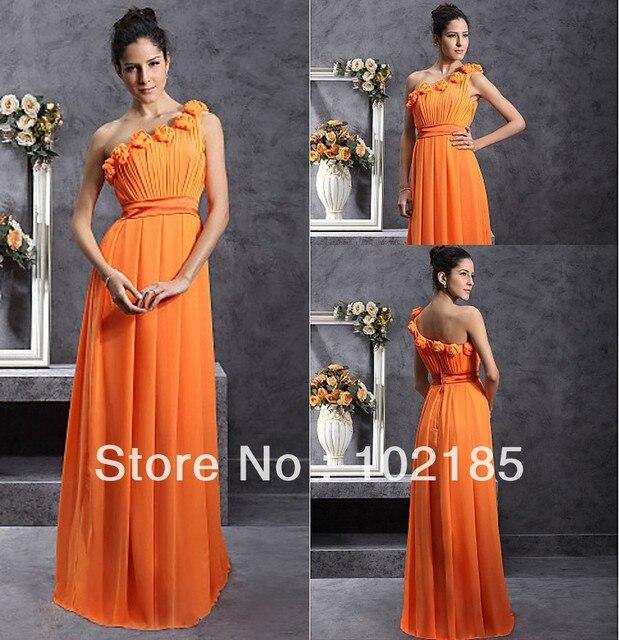 Free Shipping Cost One Shoulder Handmade Flower Chiffon Floor Length Long Bridesmaid Dress Orange Color Jbd009