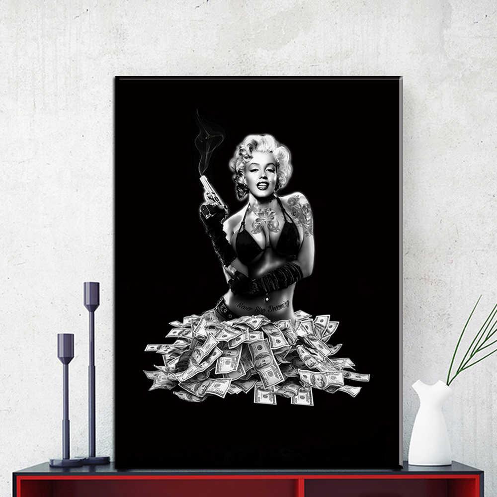 لوحات قماشية بنمط شمالي مارلين مونرو لديكور المنزل ملصق نجمة الفيلم لوحات جدارية فنية لخلفية السرير