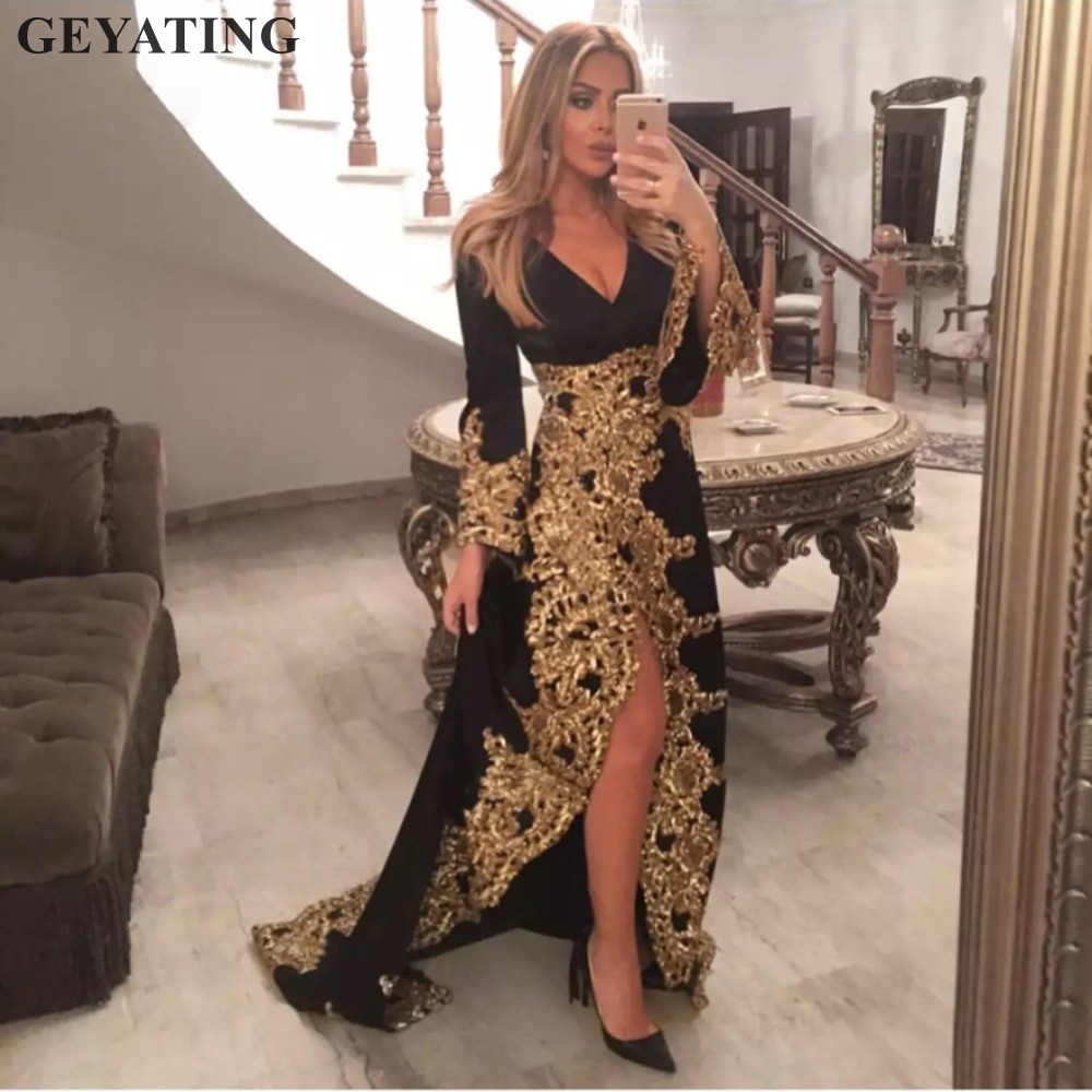 Saudi Arabic Black Evening Dresses Long Sleeves Gold Lace Applique Sexy  V-neck Side Split Dubai Prom Formal Dress Robe De Soiree c8236fa916a7