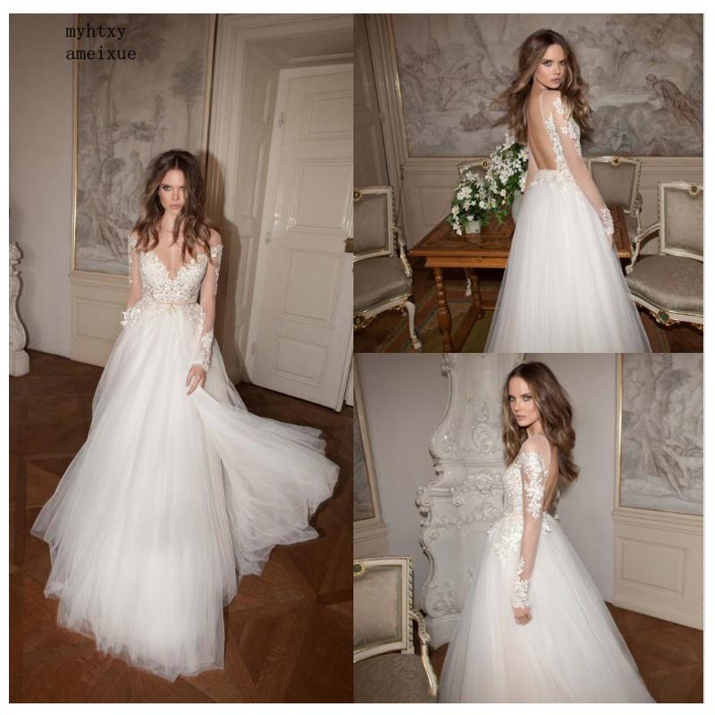 Long Sleeves Cheap Wedding Dress 2019 Beach Bridal Gown Tulle Lace Appliques Wedding Dresses Whitelvory Romantic Buttons