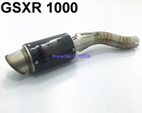 GSXR 1000 Exhaust Muffler Pipe Set Stainless Steel Carbon Fiber Motorcycle Motorbike Exhaust Muffler Pipe Set for GSXR1000 2006