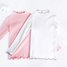 Осенне-зимние Белые и розовые топы для девочек, теплая рубашка с длинными рукавами, Детская эластичная одежда для занятий спортом, йогой, танцами