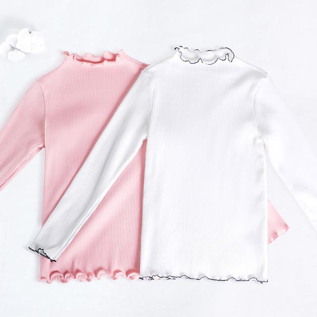 Zima jesień dziewczyny białe różowe topy z długim rękawem ciepła koszula dzieci dzieci elastyczne sportowe ubrania taneczne jogi tanie i dobre opinie daydance Pasuje prawda na wymiar weź swój normalny rozmiar 2448021 Pełna Suknem COTTON Sprężone Wokół szyi Girls Shirt