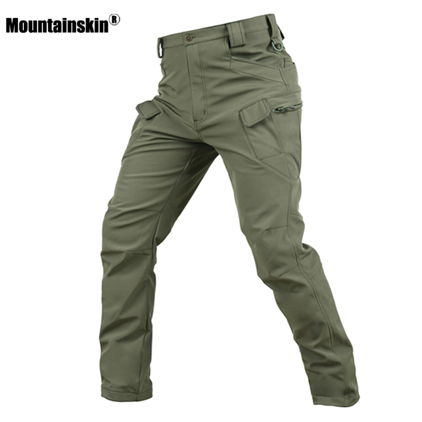 Mountainskin Men's Fleece Softshell Pants Outdoor Sports Military Tactical Hiking Trekking Fishing Camping Male Trousers VA223