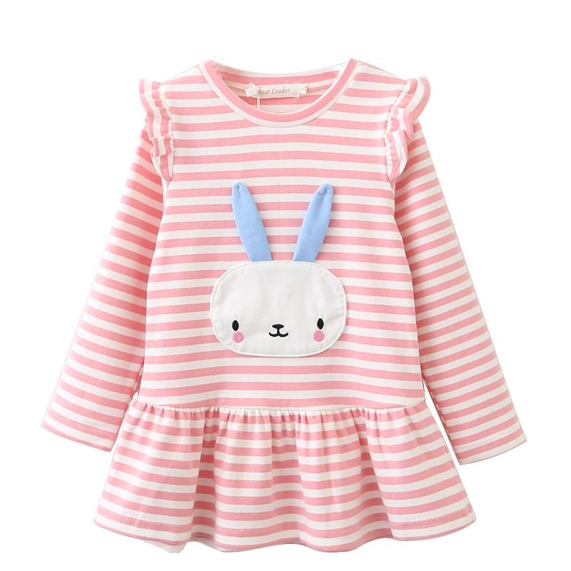 Menoea 2016 Autumn Girls Dress Casual Style Long Sleeve Cartoon Cute Baby Girl Clothes Bunny Print Plaid Dress for  Kids Clothes
