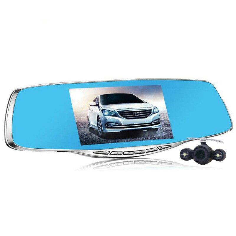 imágenes para 2017 de Lujo de 5.0 pulgadas espejo retrovisor del coche dvr hd lleno 1080 p del coche de estacionamiento de la cámara de doble lente vehículo grabador de vídeo noche visión