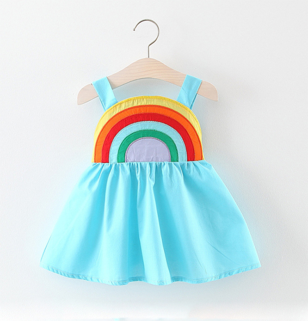 Baby's Sleeveless Rainbow Printed Cotton Dress