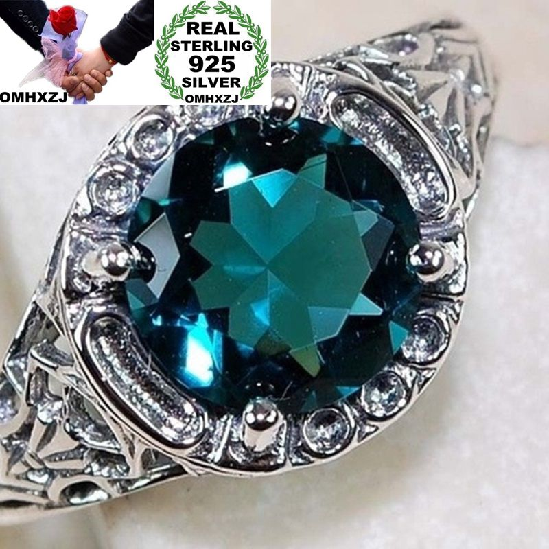 OMHXZJ Wholesale European Fashion Woman Man Party Wedding Gift Silver Green Round Topaz 925 Sterling Silver Ring RR129