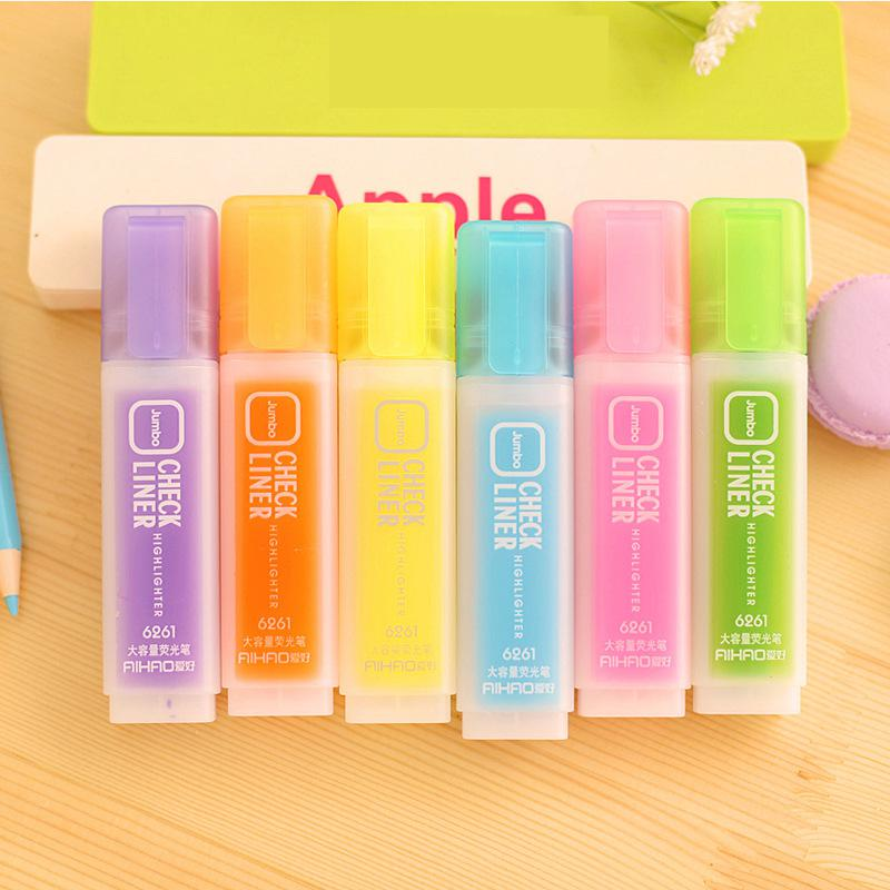 Jonvon Satone 6 Colors Highlighter Pen Stationery Korean Creative Student Large Capacity Writing Markers Highlighters Pen School