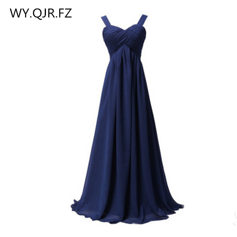 QNZL1089#Spaghetti Straps blue red Chiffon lace up long Bridesmaid Dresses new summer 2018 host bride married prom party dress