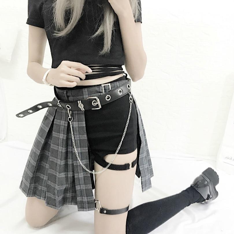 Harajuku Punk Style Plaid Irregular Skirts Women Asymmetrical High Waist  Skirts Pleated Girls Gothic Half Skirts Fashion Skirt