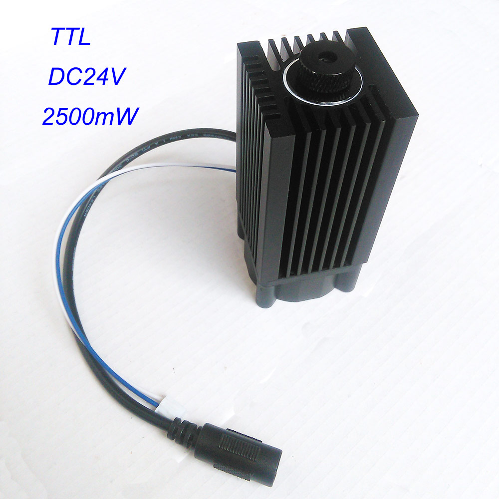 2.5W 445nm 450nm Blue Laser Module 2500mw Laser Diode with DC24V TTL Stage Laser Lighting 350mw 445nm 450nm blue fat beam laser diode module 12vdc with ttl for stage lighting show