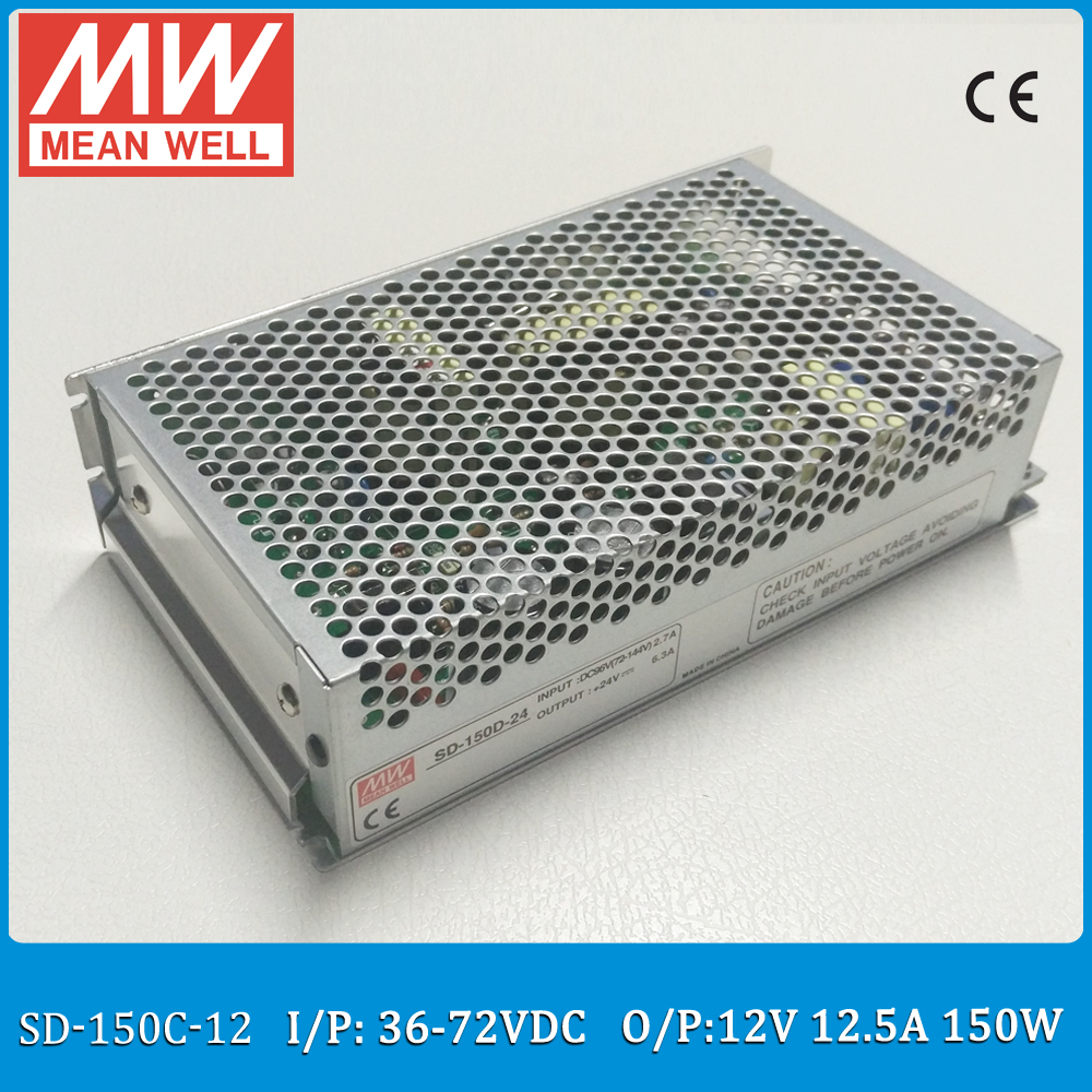 Original MEAN WELL SD-150C-12 Single Output 150W 12.5A 12VDC Input 36~72VDC meanwell dc/dc converter цена