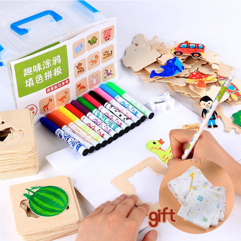 Children 's drawing sets baby learning to draw brush tools graffiti painted template mold kindergarten toys 50pcs board 12 pen +