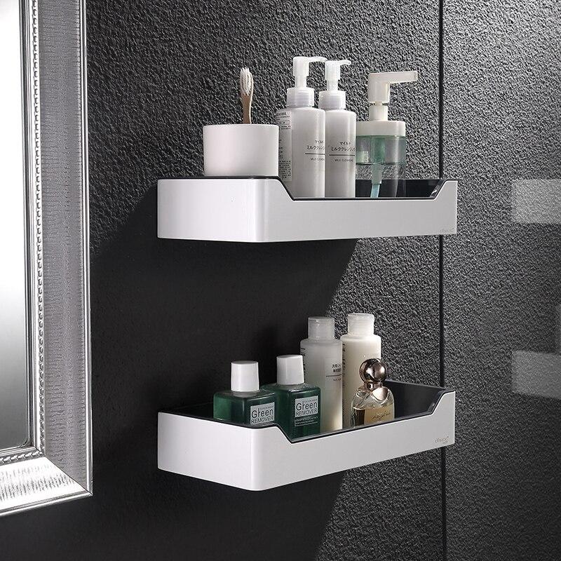Accessoires de salle de bains Houmaid acier inoxydable support de rangement en Silicone bouteilles de douche étagère d'angle Abs-résine coin supports simples
