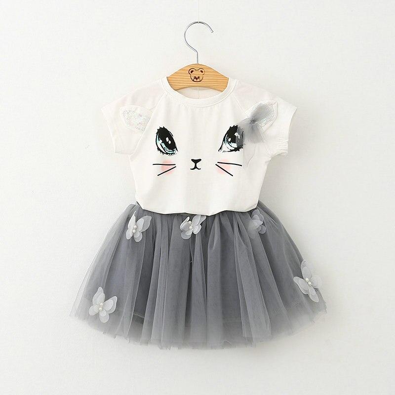 (Lucky Store) cat printed baby girls clothing set short sleeve t-shirt+ veil skirt 2pcs set grey/ pink 2color