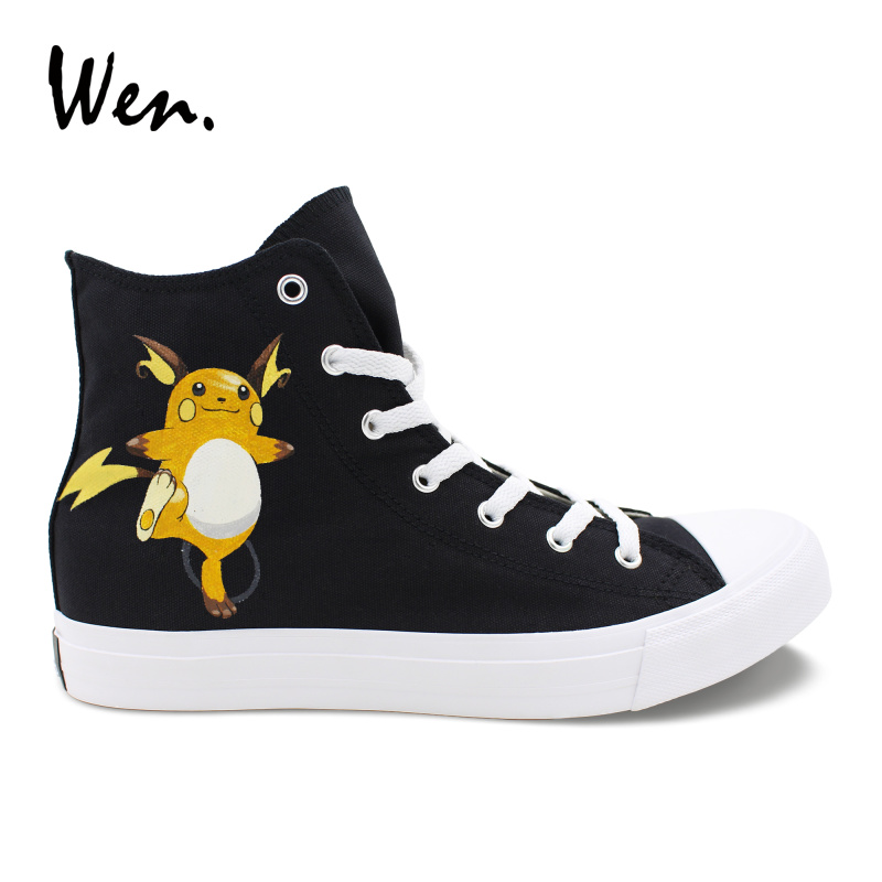 Wen Anime Pokemon Design Handgemalte High Top Schuhe Raichu Schwarz Tasche Monster Weibliche Leinwand Plimsolls Männlichen Sport Turnschuhe