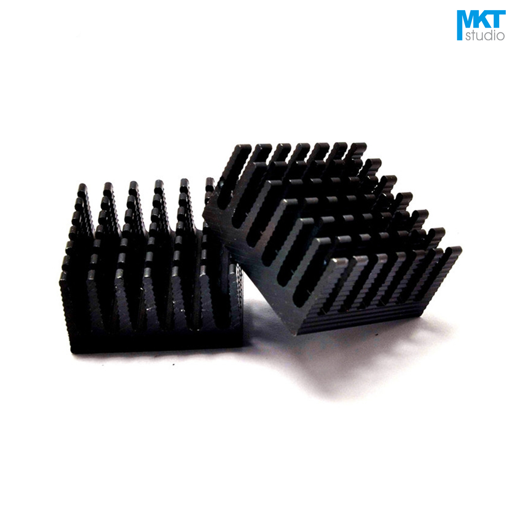 50Pcs Black 28mmx28mmx15mm Pure Aluminum Cooling Fin Radiator Heat Sink