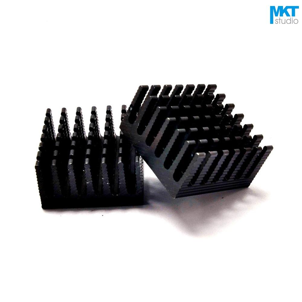 50Pcs Black 28mmx28mmx15mm Pure Aluminum Cooling Fin Radiator Heat Sink