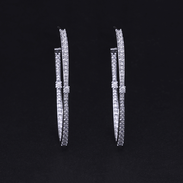 XIUMEIYIZU New Design Silver Color Silmple Inside-Out Pave Cubic Zirconia Oval Shape Hoop Earrings for Women