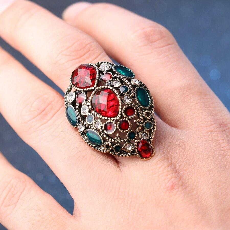 Kinel Fashion Turkey Vintage Nakit Veliki emajlirani prstenovi za - Modni nakit - Foto 5
