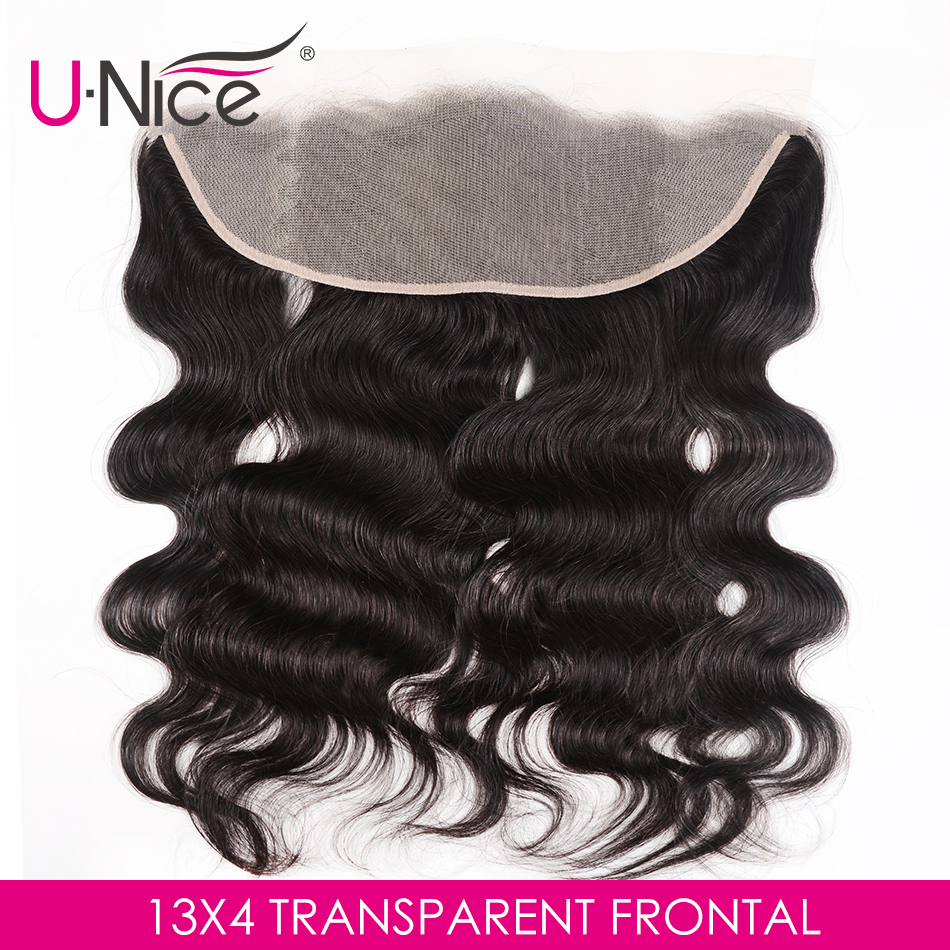 Unice Human-Hair Lace-Frontal Body-Wave Transparent Pre-Plucked Brazilian Remy To 13X4
