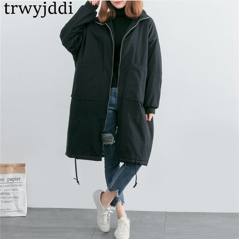 2019 New Autumn Winter Tooling Cotton Padded Coat Women's Long Windbreaker Loose Casual Jackets Black   Parkas   Outerwear N160