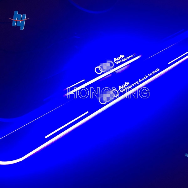 2PCS Car LED Moving Light Front Door Sill Guards Stainless Steel Scuff Plate Welcome Pedal For Audi A3 S3 2014 2015 DC 12V hot sale 2pcs hot sale car led moving door scuff fit for peugeot301 2008 307 308 408 508 4008 front door white blue red high qu
