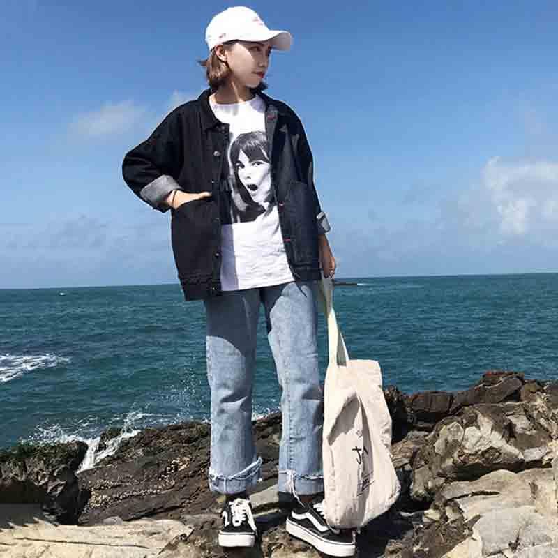 Giacca Femminile Di Chgoisio Base Casual Le Black Per Autunno In 2018 New Allentata Cappotto Jeans Harajuku Stile Donne 5qARjL34