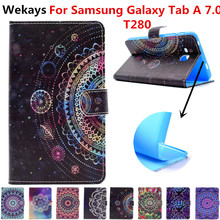 Wekays For Galaxy Tab A 2016 7.0 T280 T285 Leather Stand Funda Case For Coque Samsung Galaxy Tab A A6 7.0 T280 Tablet Cover Case case for samsung galaxy tab a a6 7 0 inch 2016 sm t280 t285 7 0cover tablet cover slim stand leather protective case back shell