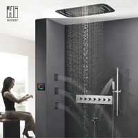 HIDEEP Bathroom Roof Embedded Thermostatic Change Seven Function LED Shower Set Body Jets Waterfall Rainfall Faucet Shower Set
