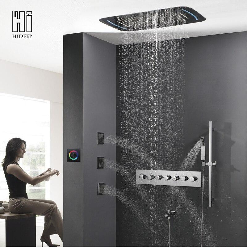 HIDEEP salle de bain toit intégré thermostatique changement sept fonction LED ensemble de douche Jets de corps cascade pluie robinet ensemble de douche